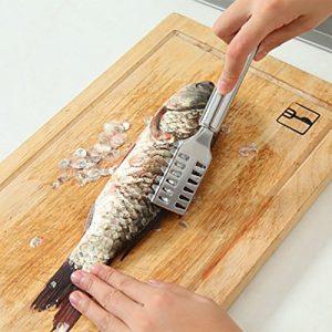 Anqeeso Poisson Grattoir en acier inoxydable écailles de poisson Scaler Scraper Remover Cleaner Outil de plan de cuisine