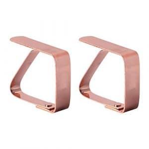 JUNGEN 2PCS Nappe Clip en acier inoxydable Pinces à nappe Clips de Support pour nappe (Couleur cuivre)