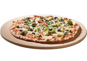 Pierre à pizza Santos Premium – 26cm de diamètre – Résiste jusqu'à 1000 degrés – Adaptée pour gril à gaz, à charbon, four, brique de pain