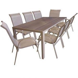 SSITG Multistore 2002Ensemble de Jardin 9pièces en Aluminium Table de Jardin polywood 205cm Chaise empilable