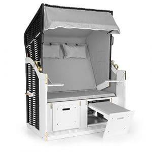 Blumfeldt Hiddensee Chaise longue cabine plage XL 2 places (repose-pieds extensibles, capot rabattable sur 5 niveaux, 2 coussins et appuie-têtes inclus) – gris