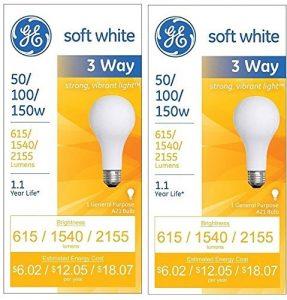 GE Lighting Blanc doux 3voies 9749450/100/150Watts, 2155-lumen A21ampoule avec base de Medium,, Lot de 2 150.0 watts