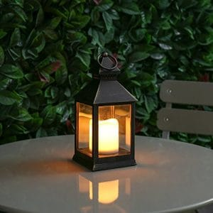 Lanterne avec Bougie LED – Noir Effet Métal Vieilli 24cm à Piles Waterproof – Usage Interieur/Exterieur – Paroie en Verre