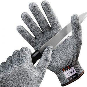 FREETOO Gants Anti-Coupure Protection De Cuisine Bricolage- Résistant, Souple, Flexible, Antidérapant, Lavable Et Vert pour Aliments (S)
