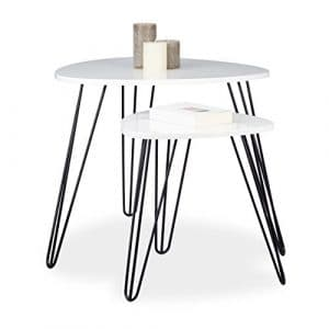 Relaxdays Table d'appoint blanche angle lot de 2 bois et métal brillant laqué 3 pieds stable bout canapé gigognes HxD: 52 x 60 cm, blanc