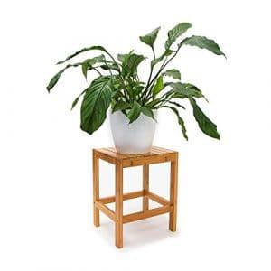Relaxdays Tabouret en bambou Table pour plantes tabouret salle de bain HxlxP: 40 x 28 x 32 cm table appoint déco, nature