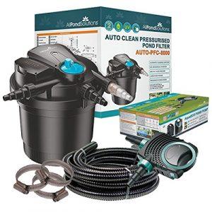All Pond Solutions Kit de filtration pour bassin koi avec filtre sous pression auto-nettoyant et stérilisateur UV Kit tout en un 8000 L/h