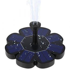 Ankway Pompe Solaire Fontaine à Eau Flottant pour Bain d'oiseau Etang 1.6 W Kit de Pompe à Eau Nouvelle Version Décoration de Jardin