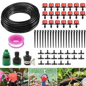 DAMIGRAM 15M Micro Irrigation Système D'égouttement Réglable Irrigation Goutte à Goutte Automatique Micro Arroseur d'arrosage Plante Jardin Tuyau Kits DIY pour Jardin Serre