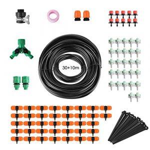 FIXKIT 40M Kit Micro Irrigation Goutte à Goutte Irrigation de Jardin Micro-Goutte Kit Automatique d'Arrosage de Tuyau DIY Système d'Arrosage Version Améliorée pour Jardin Serre Potager Pelouse