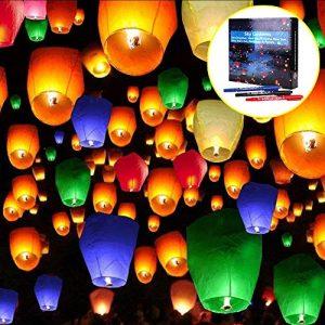 Lanterne volante, Doris Direct 20PCS Multicolors Lanterne Chinoise Volante 100% biodégradable pour Noël, Nouvel An, Nouvel An chinois, Nouvel An, Mariages et Fêtes