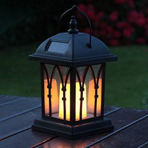 Lanternes Solaires Extérieures Décoratives Noir Mat avec Bougie LED Effet Vacillant (Pile Rechargeable Incluse) Waterproof par Festive Lights (L (27cm))