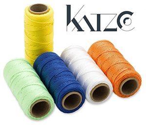 Lot de 5torsadées en nylon Ficelle–130Core rond Rouleaux–Assortiment de 5couleurs–par Katzco