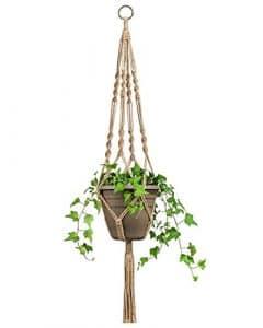 Mkouo Suspension Plante Macramé Pot Suspendu Plante Porte Décoration du Jardin avec 4 Jambes en Corde de Chanvre 87 cm