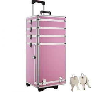 TecTake Valise Malette Trolley à Roulettes Esthetique Poignée Télescopique – diverses couleurs au choix (Rose)