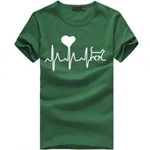 Tee Shirt Femme Imprime l'amour Haut Chic Femme Imprimé T-Shirt Femme Tee Shirt Plumes Femme Electrocardiogram Imprimé Tee Shirt à Col Rond Tee Shirt Femme Ete à Manche Courte Top Femme Casual WINJIN