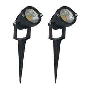 Uonlytech 2pcs 220V 7W COB extérieur Lampadaire Fluorescent Lumière Blanc Lampe Cour Arbre Lampe