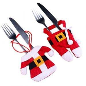 ZYCX123 1set Arts de la Table de Noël Couverture créatif Table Sacs Non-tissés en Tissu Couverts Fournitures de Noël pour Couteaux et fourchettes (vêtements et Pantalons)