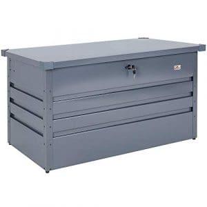 Gardebruk – Coffre de rangement 360 L acier anthracite • 120x62x63cm • Verrouillable – Malle de rangement jardin