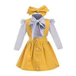 Bébé Vêtements, Mamum 3pcs enfant en bas âge bébé filles points d'impression tops t-shirt sangle jupe tenues ensemble (90(24Mois))