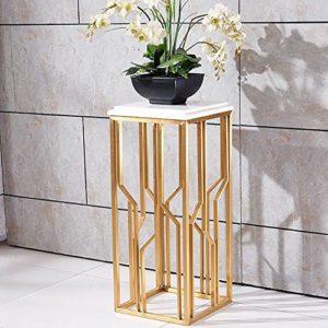 Flower Stand, acier inoxydable brossé Titane plaqué en marbre Étagère à quelques fleurs Canapé latérale Bonsai Continental simple moderne balcon maison intérieure métal châssis de soudure Durable magasin récipient Support Gold+white