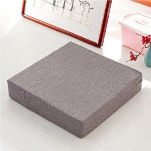 WDZA Futon Coton Lin Tissu Coussin Épais Coussin Lavable Amovible Balcon, 50X10Cm, Carré Gris