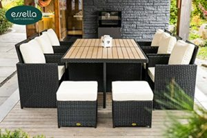 'Bomey «Vienna Lot de 6personnes Polywood–flachgefl véritable teinté–Noir–Meubles de jardin–Meubles