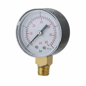 Erduo Manomètre de Pression d'eau pour Filtre de Spa de Piscine Pratique Mini 0-60 PSI 0-4 Bar Montage latéral 1/4 Pouce Filetage de Tuyau NPT TS-50 – Noir