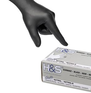 Gants nitrile jetables non poudrés H&S (100 pièces), S Small M Medium L Large XL X-Large, sans latex, convient pour aliments, dermophile et bien tolérée – pour les peaux sensibles (noir, L)