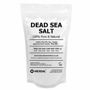 Hexeal Sel de mer Morte hexagonale Fine de 1 kg de Pochette de qualité Alimentaire 100% Naturelle.