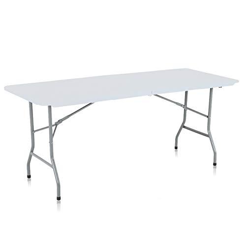 Strattore Table de Jardin Plastique Traiteur Pliante Table Buffet Picnic Plateau Camping Pliable avec Poignée – 180 x 70 x 74 cm en Blanc Modèle 2018