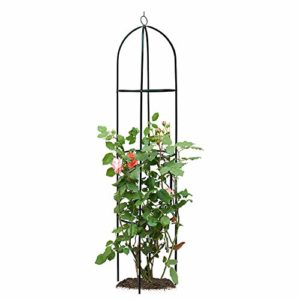 ART TO REAL Obélisque de Jardin en Treillis pour Plantes grimpantes, Treillis en Fer forgé, Support en Fleur pour vignes grimpantes, rosiers et Plantes, Grande Tour en Acier Vert pour extérieur