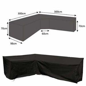 dDanke Grande Housse de canapé en Forme de L à Toutes Les intempéries étanche Noir Polyester pour Meubles de Jardin terrasse (300x 300x 98x 70cm)