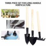 Hnourishy Outils de Jardinage à Long Manche 3PCS / Set de Jardinage Mini Outil poignée en Bois tête en métal Petite Pelle Rake Spade – Noir + Beige