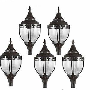 5pcs outdoor post light 60W 6500LM UL Listed LED Post Top Light Fixture with 5700K white light AC100-277V IP65 Waterproof, acorn light fixture,outdoor lamp led garden lamp night light (5pcs)