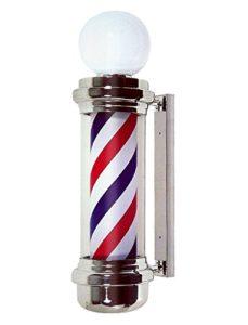 Poteau de Barbier avec Haut Lampe Imperméable Lumineuse Pivotante Rouge Blanc Bleu LED Bandes Filage Coiffure Salon Lumière Signe Mur Lampe, 135 * 25cm