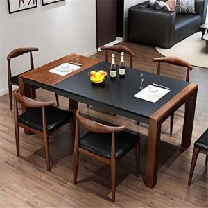 Table de salle à manger rétractable nordique moderne table de salon pliante et une combinaison de feu à brûler pierre de petite taille table à manger en bois massif 150cmx85cmx76cm