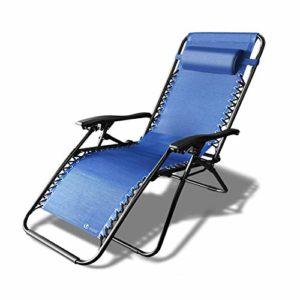 Chaise longue inclinable | Chaise de Jardin Pliable en Textilène | Chaise longue avec Rembourrage de Tête Amovible | Charge Max 120KG | Taille chaise déployée : 165 x 112 x 65cm | Fauteuil Relax Bleu