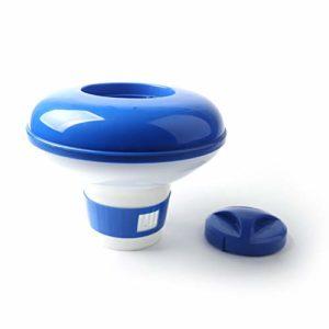 Distributeur flottant de comprimé de chlore de distributeur chimique de comprimé de brome distributeur automatique de produit chimique pour piscine pour spa de piscine Kaemma(Color:blue & white & 5″)