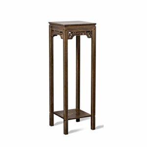 LXYPLM Étagère à Fleurs 2 Tier Table d'appoint en Bambou Support à Fleurs présentoir Chinois Design sculpté (Size : 92cm)