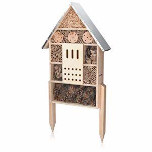Navaris Hôtel à Insecte Bois – Cabane Abri XL 38 x 11,5 x 57 cm avec 2 Piquets – Nid Nichoir pour Abeilles Papillons et Autres Insectes Volants