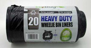 20sacs poubelles 240 litres extra-résistants, Noir