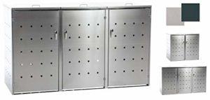 CLP Nelli Poubelle en Acier Inoxydable pour 2 à 3 poubelles avec Lift à gaz 198x80x116 cm