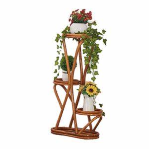 HHS Megan-FS Pot à Fleurs Support de Pot de Plancher de Trois étages de Balcon Support de Fleur de rotin de Salon extérieur Support à Pots de Fleurs