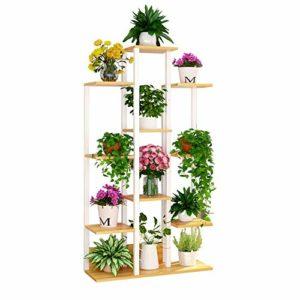 Pot à fleurs Supports d'affichage de conception d'escalier en métal étagères de pot de fleurs 10 niveaux 144cm Européen rétro maison bureau ornements étagère de rangement jardin décoratif stand (plant