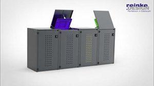REINKEDESIGN Boîte à poubelles Boxxi 4 x 240 l avec Toit en Aluminium Anthracite RAL 7016