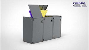 REINKEDESIGN Boxxi Coffre à poubelles avec Toit en Acier galvanisé Anthracite RAL 7016 3 x 120 l