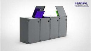 REINKEDESIGN Boxxi Coffre à poubelles avec Toit en Acier galvanisé Anthracite RAL 7016 4 x 120 l