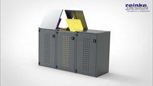 REINKEDESIGN Boxxi RAL 7016 Coffre à poubelles avec Toit en Aluminium Anthracite 3 x 240 l