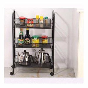 Support de cuisine, support mobile pour fond de repas, support à plat, support de rangement, support à panier à légumes-black
